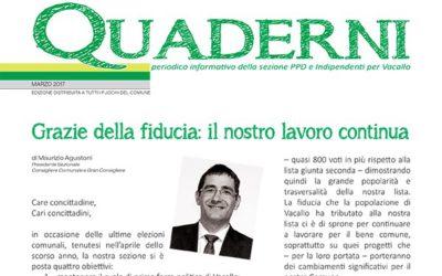 """Nuova edizione dei """"Quaderni"""" – edizione marzo 2017"""